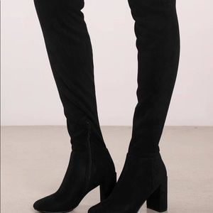 THIGH HIGH black heeled boots
